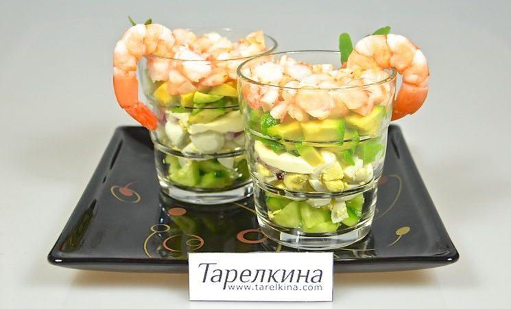 Салат-коктейль с креветками и огурцом