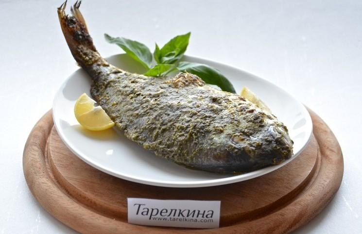Рецепт Дорада с базиликовой корочкой